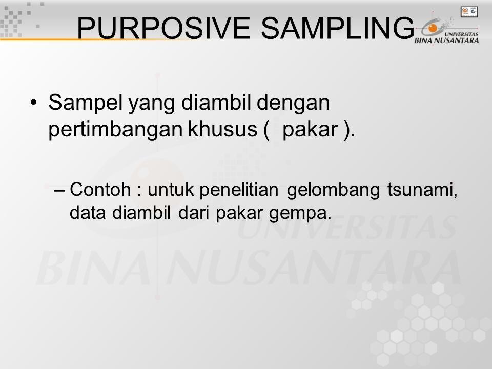 AKSIDENTAL SAMPLING Sampel yang diambil secara kebetulan oleh peneliti ( waktu & tempat tidak direncanakan ).