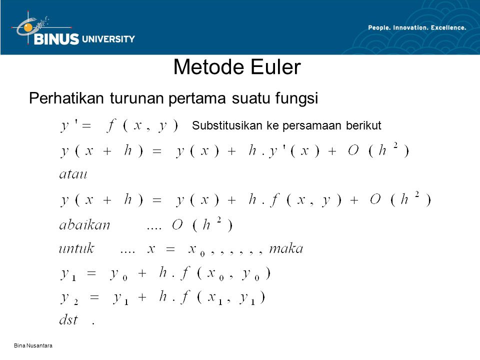 Metode Euler Perhatikan turunan pertama suatu fungsi Substitusikan ke persamaan berikut