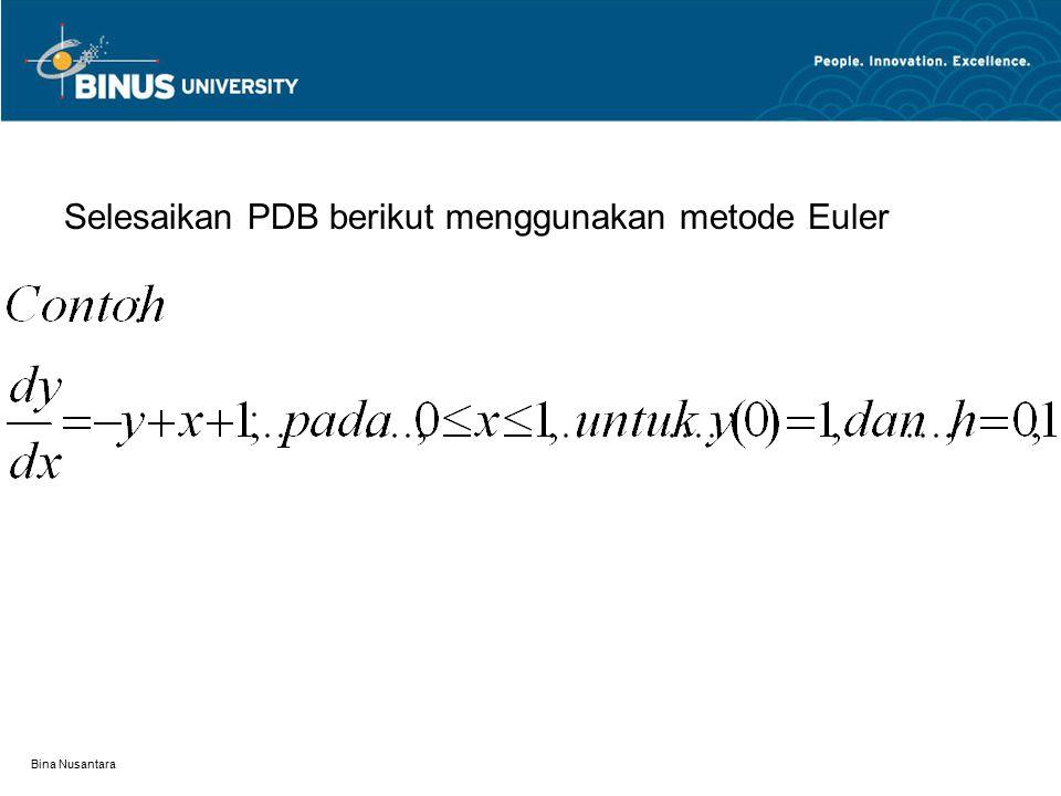 Bina Nusantara Selesaikan PDB berikut menggunakan metode Euler