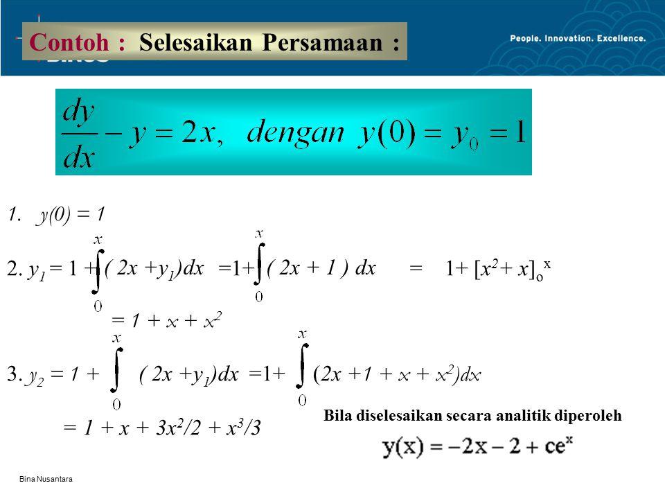 Bina Nusantara Contoh : Selesaikan Persamaan : 1.y(0) = 1 2. y 1 = 1 + =1+ = 1+ [x 2 + x] o x = 1 + x + x 2 3. y 2 = 1 + ( 2x +y 1 )dx =1+ (2x + 1 +