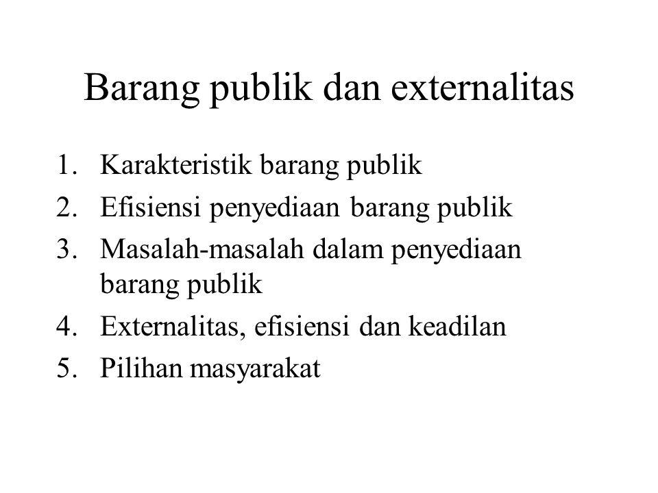 Barang publik dan externalitas 1.Karakteristik barang publik 2.Efisiensi penyediaan barang publik 3.Masalah-masalah dalam penyediaan barang publik 4.E