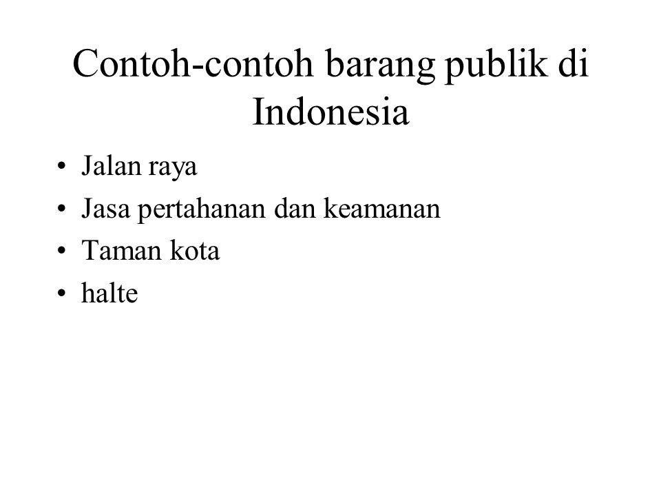 Contoh-contoh barang publik di Indonesia Jalan raya Jasa pertahanan dan keamanan Taman kota halte