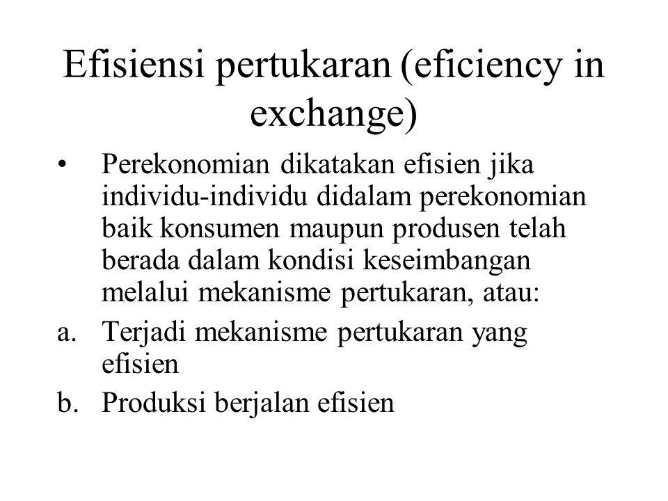 Efisiensi pertukaran (eficiency in exchange) Perekonomian dikatakan efisien jika individu-individu didalam perekonomian baik konsumen maupun produsen