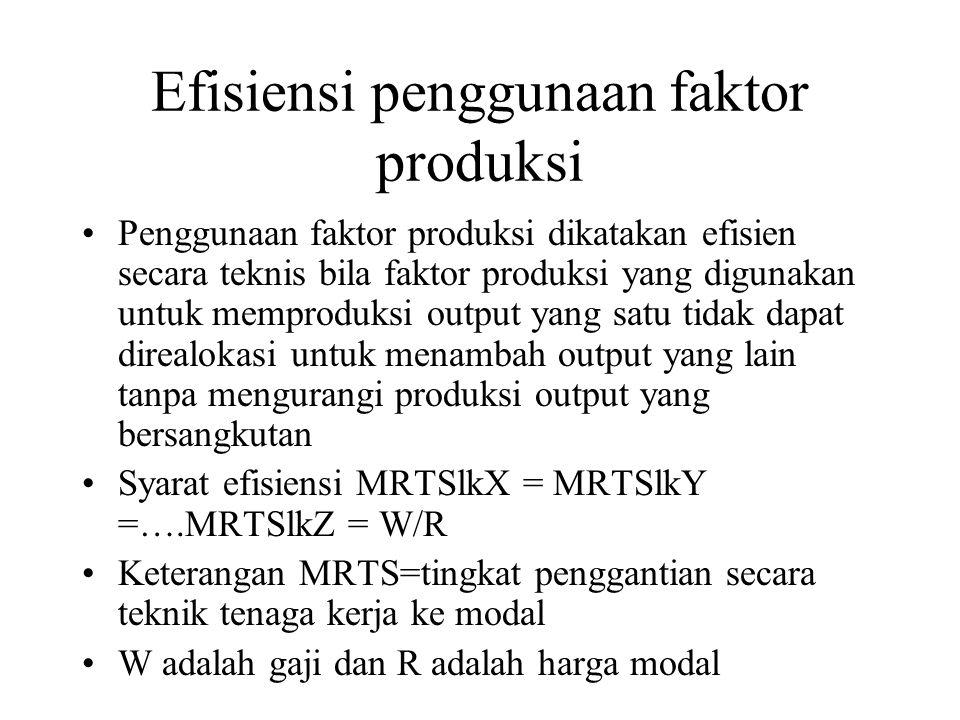 Efisiensi penggunaan faktor produksi Penggunaan faktor produksi dikatakan efisien secara teknis bila faktor produksi yang digunakan untuk memproduksi