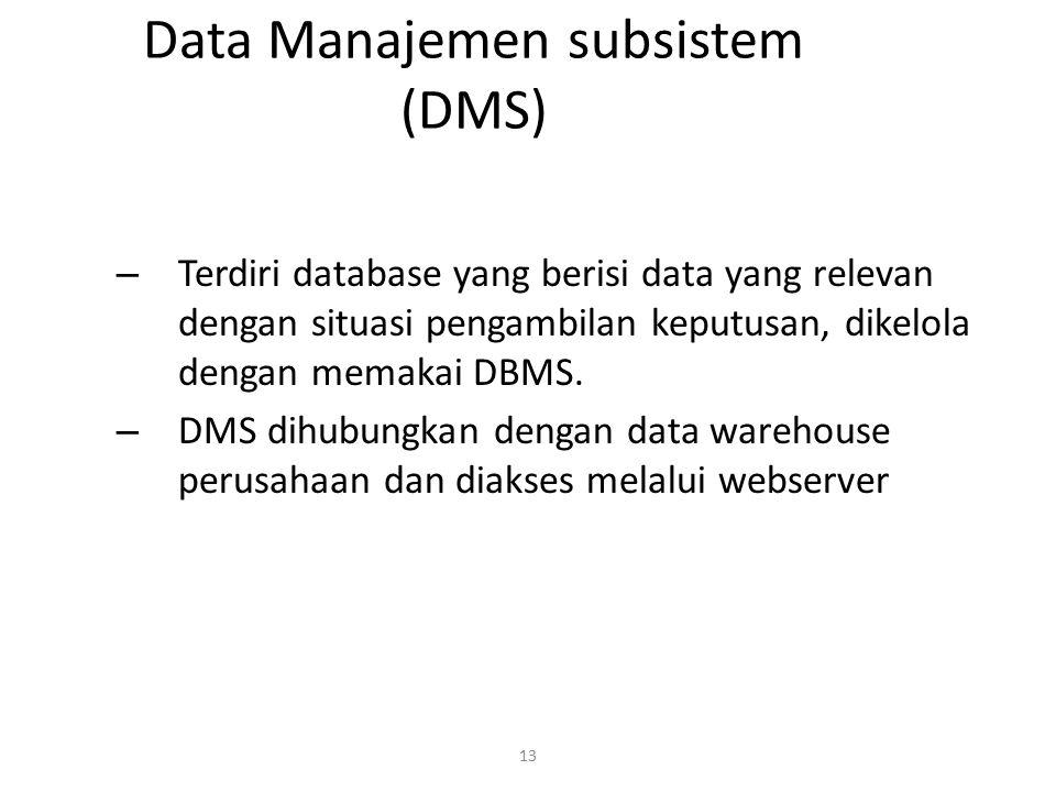 13 Data Manajemen subsistem (DMS) – Terdiri database yang berisi data yang relevan dengan situasi pengambilan keputusan, dikelola dengan memakai DBMS.