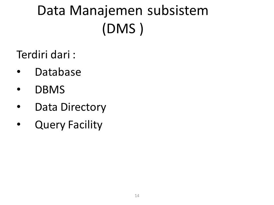 14 Data Manajemen subsistem (DMS ) Terdiri dari : Database DBMS Data Directory Query Facility