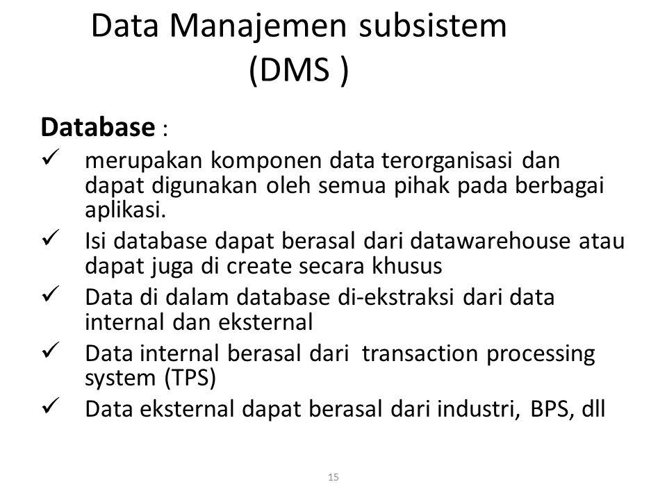 15 Data Manajemen subsistem (DMS ) Database : merupakan komponen data terorganisasi dan dapat digunakan oleh semua pihak pada berbagai aplikasi. Isi d