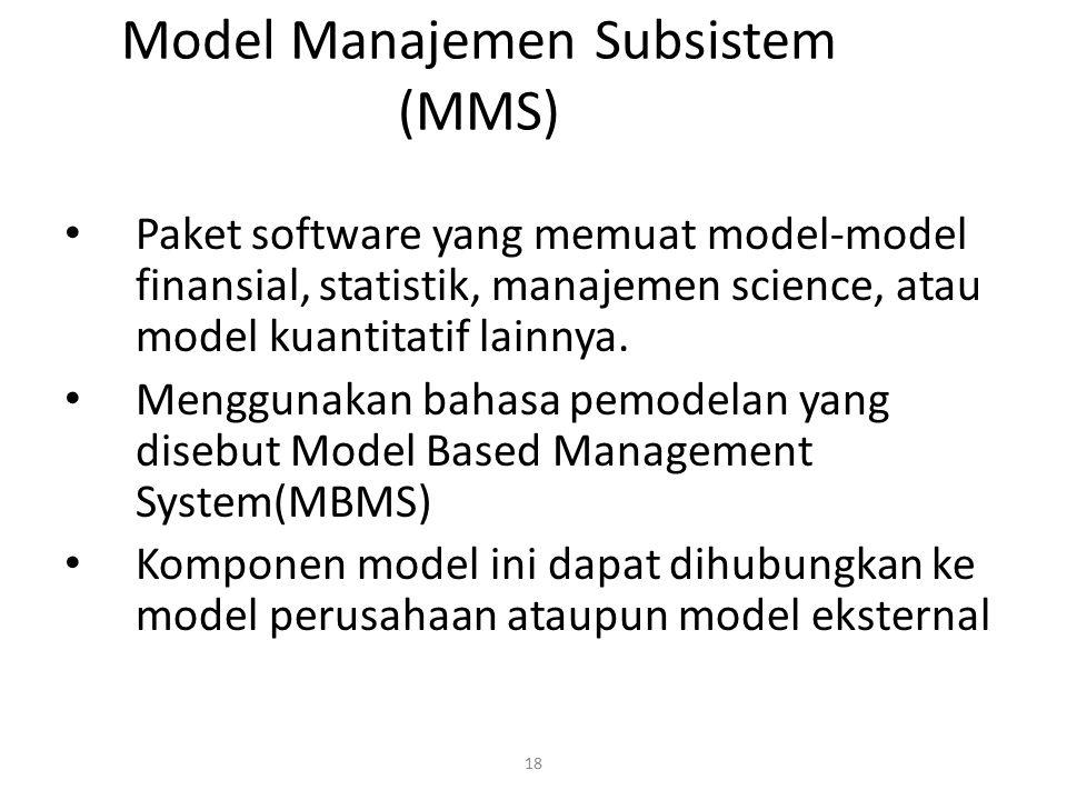 18 Model Manajemen Subsistem (MMS) Paket software yang memuat model-model finansial, statistik, manajemen science, atau model kuantitatif lainnya. Men