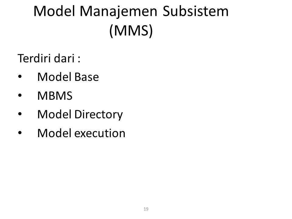 19 Model Manajemen Subsistem (MMS) Terdiri dari : Model Base MBMS Model Directory Model execution