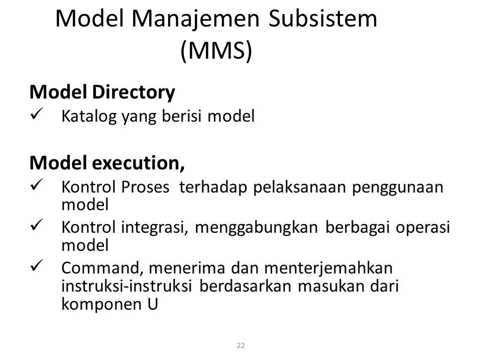 22 Model Manajemen Subsistem (MMS) Model Directory Katalog yang berisi model Model execution, Kontrol Proses terhadap pelaksanaan penggunaan model Kon