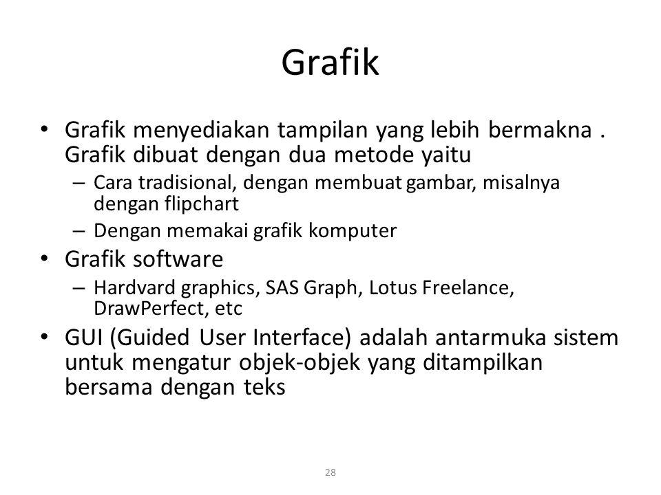 28 Grafik Grafik menyediakan tampilan yang lebih bermakna. Grafik dibuat dengan dua metode yaitu – Cara tradisional, dengan membuat gambar, misalnya d