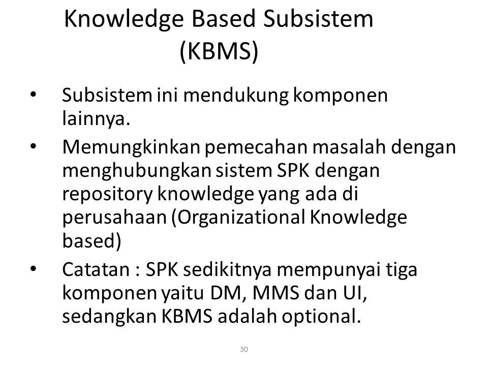 30 Knowledge Based Subsistem (KBMS) Subsistem ini mendukung komponen lainnya. Memungkinkan pemecahan masalah dengan menghubungkan sistem SPK dengan re