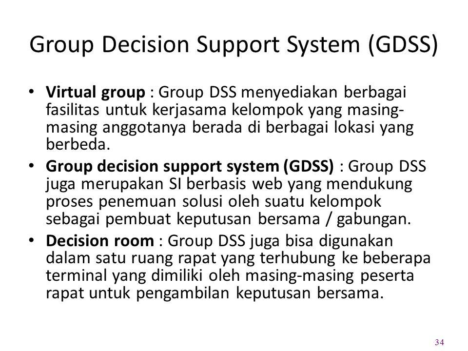 Group Decision Support System (GDSS) Virtual group : Group DSS menyediakan berbagai fasilitas untuk kerjasama kelompok yang masing- masing anggotanya