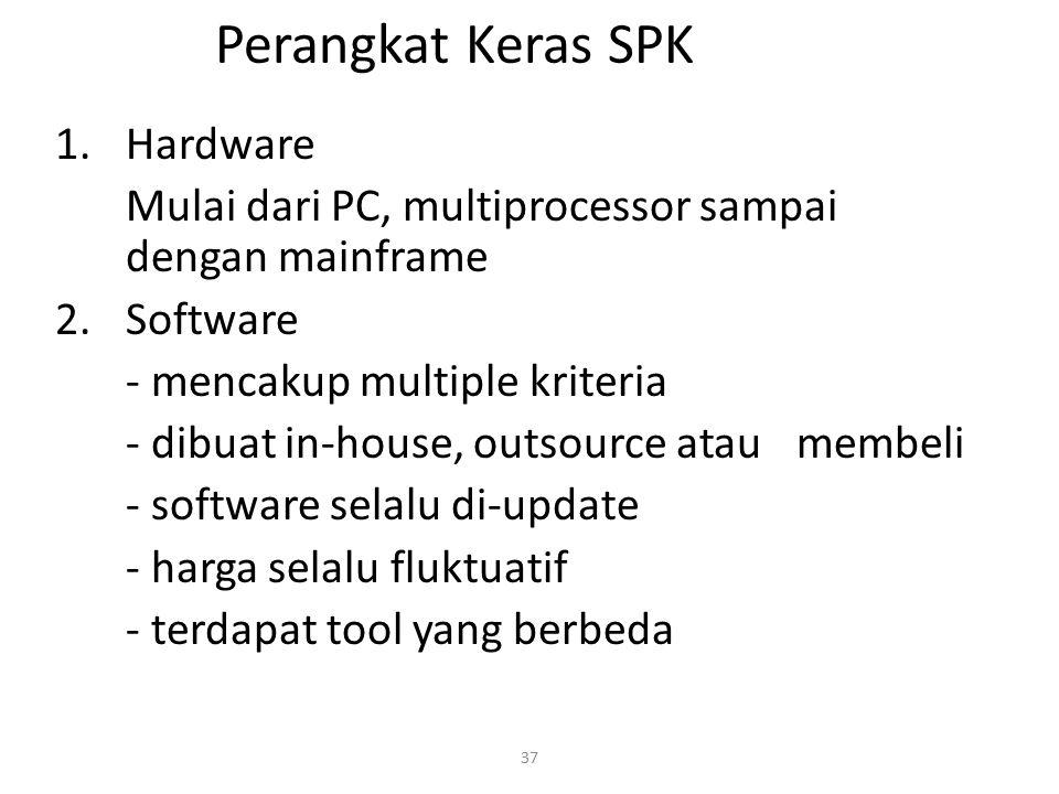 37 Perangkat Keras SPK 1.Hardware Mulai dari PC, multiprocessor sampai dengan mainframe 2.Software - mencakup multiple kriteria - dibuat in-house, out