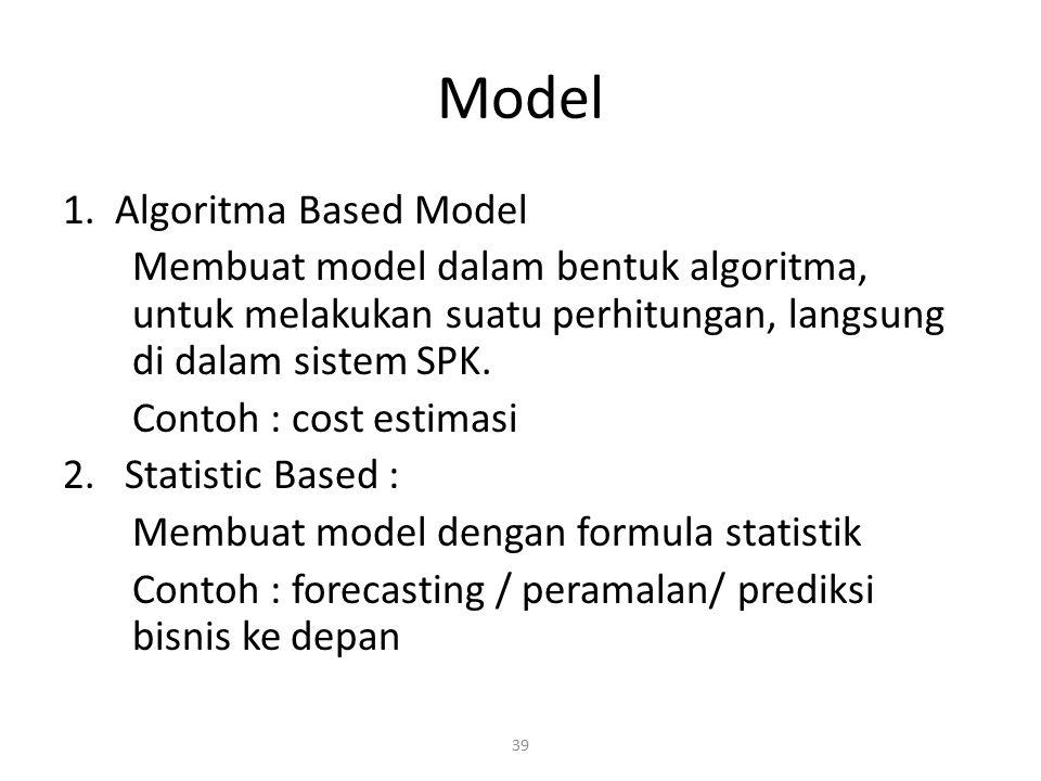 39 Model 1. Algoritma Based Model Membuat model dalam bentuk algoritma, untuk melakukan suatu perhitungan, langsung di dalam sistem SPK. Contoh : cost