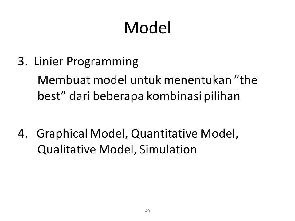 """40 Model 3. Linier Programming Membuat model untuk menentukan """"the best"""" dari beberapa kombinasi pilihan 4. Graphical Model, Quantitative Model, Quali"""