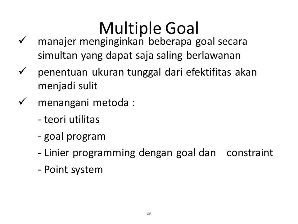 46 Multiple Goal manajer menginginkan beberapa goal secara simultan yang dapat saja saling berlawanan penentuan ukuran tunggal dari efektifitas akan m