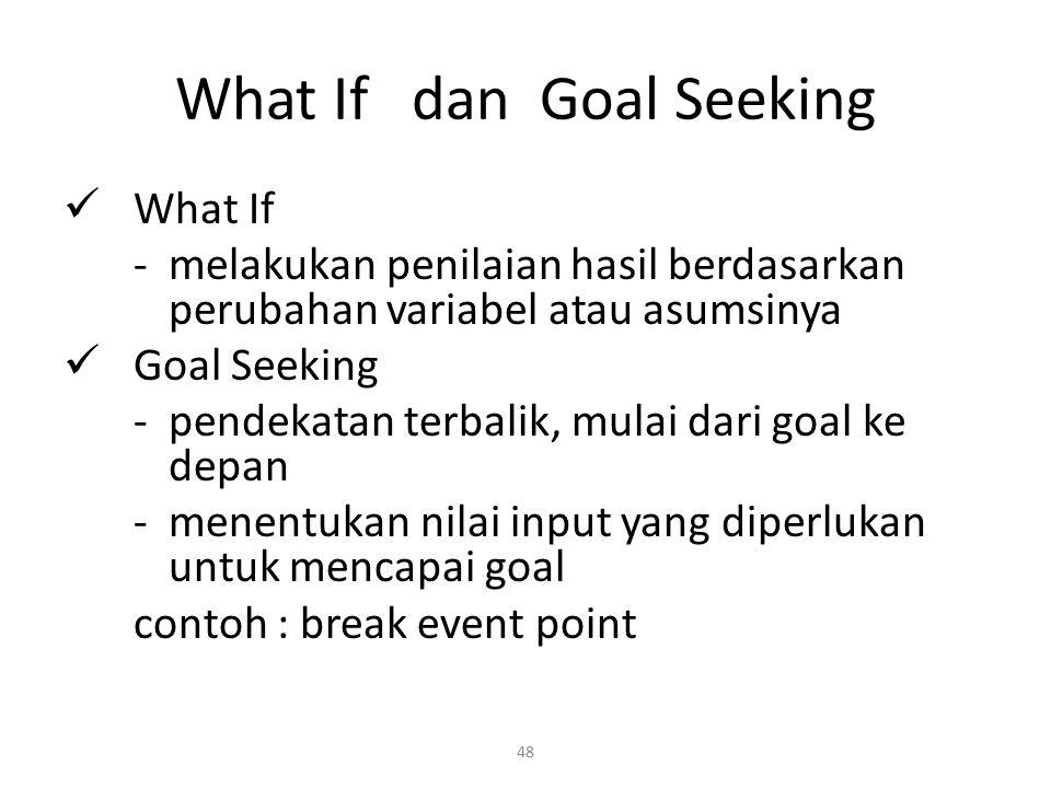 48 What If dan Goal Seeking What If - melakukan penilaian hasil berdasarkan perubahan variabel atau asumsinya Goal Seeking - pendekatan terbalik, mula