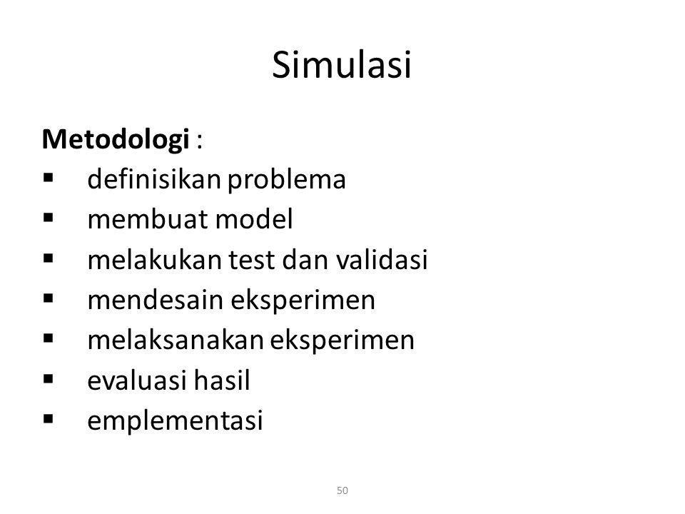 50 Simulasi Metodologi :  definisikan problema  membuat model  melakukan test dan validasi  mendesain eksperimen  melaksanakan eksperimen  evalu