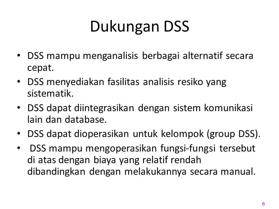Dukungan DSS DSS mampu menganalisis berbagai alternatif secara cepat. DSS menyediakan fasilitas analisis resiko yang sistematik. DSS dapat diintegrasi