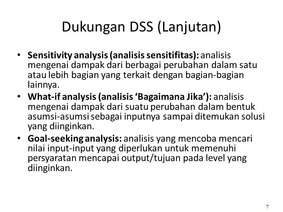 Dukungan DSS (Lanjutan) Sensitivity analysis (analisis sensitifitas): analisis mengenai dampak dari berbagai perubahan dalam satu atau lebih bagian ya