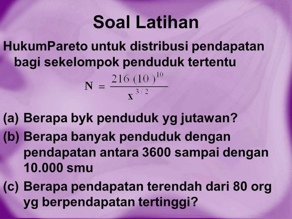 Soal Latihan HukumPareto untuk distribusi pendapatan bagi sekelompok penduduk tertentu (a) Berapa byk penduduk yg jutawan? (b) Berapa banyak penduduk