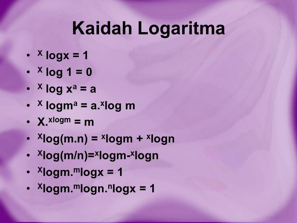Kaidah Logaritma X logx = 1 X log 1 = 0 X log x a = a X logm a = a. x log m X. xlogm = m X log(m.n) = x logm + x logn X log(m/n)= x logm- x logn X log