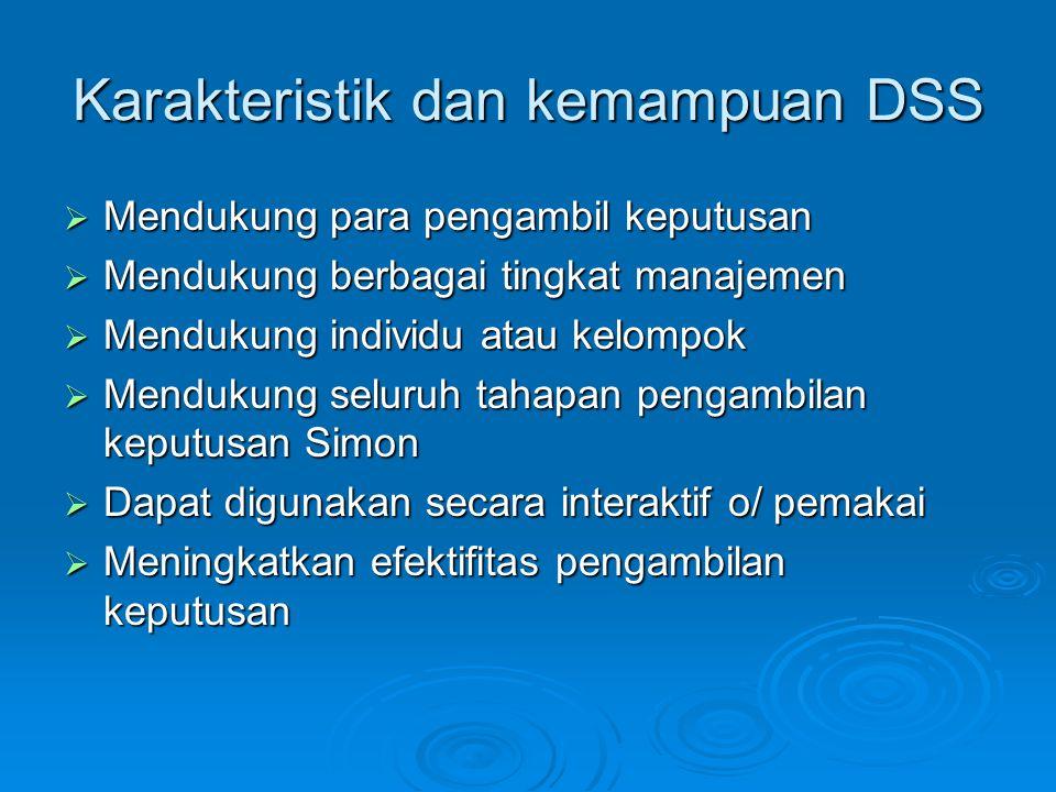 Karakteristik dan kemampuan DSS  Mendukung para pengambil keputusan  Mendukung berbagai tingkat manajemen  Mendukung individu atau kelompok  Mendukung seluruh tahapan pengambilan keputusan Simon  Dapat digunakan secara interaktif o/ pemakai  Meningkatkan efektifitas pengambilan keputusan