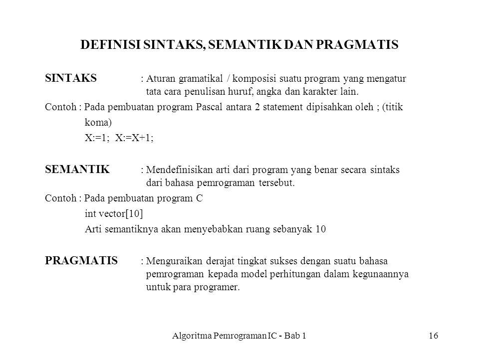 Algoritma Pemrograman IC - Bab 116 DEFINISI SINTAKS, SEMANTIK DAN PRAGMATIS SINTAKS : Aturan gramatikal / komposisi suatu program yang mengatur tata cara penulisan huruf, angka dan karakter lain.