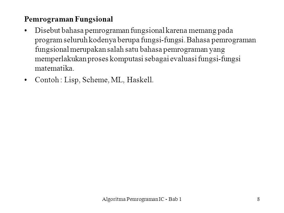 Pemrograman Fungsional Disebut bahasa pemrograman fungsional karena memang pada program seluruh kodenya berupa fungsi-fungsi.