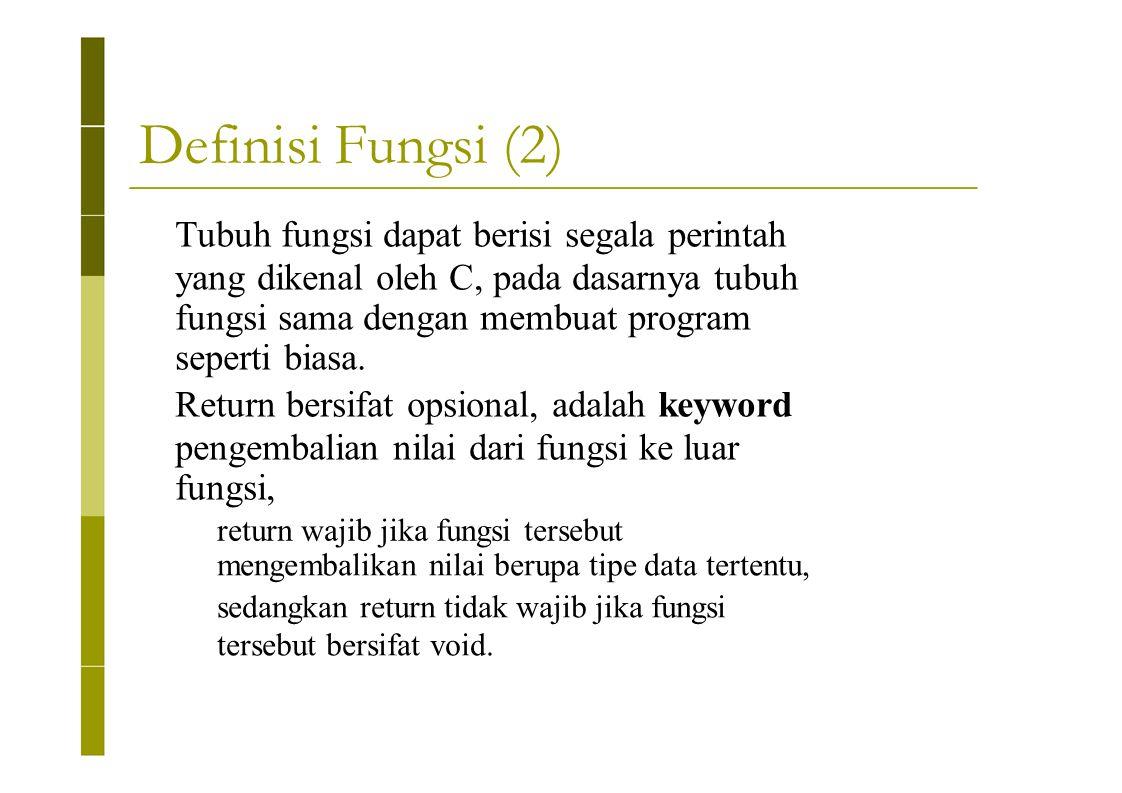 Definisi Fungsi (2) Tubuh fungsi dapat berisi segala perintah yang dikenal oleh C, pada dasarnya tubuh fungsi sama dengan membuat program seperti bias