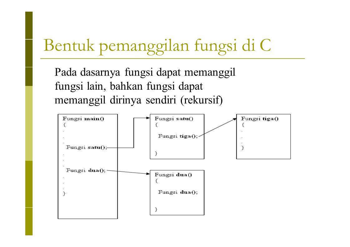 Bentuk pemanggilan fungsi di C Pada dasarnya fungsi dapat memanggil fungsi lain, bahkan fungsi dapat memanggil dirinya sendiri (rekursif)