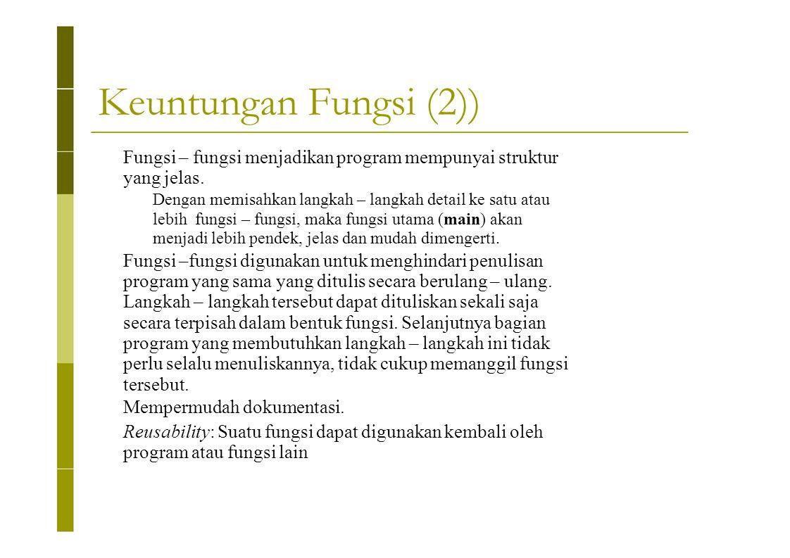 Keuntungan Fungsi (2)) Fungsi – fungsi menjadikan program mempunyai struktur yang jelas. Dengan memisahkan langkah – langkah detail ke satu atau lebih