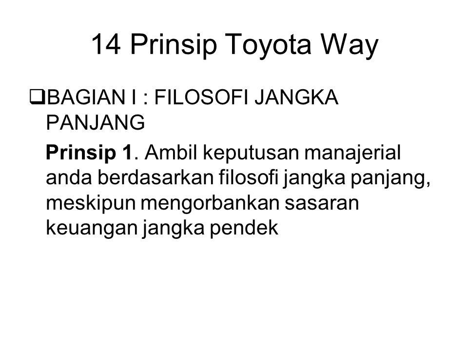 14 Prinsip Toyota Way  BAGIAN I : FILOSOFI JANGKA PANJANG Prinsip 1. Ambil keputusan manajerial anda berdasarkan filosofi jangka panjang, meskipun me