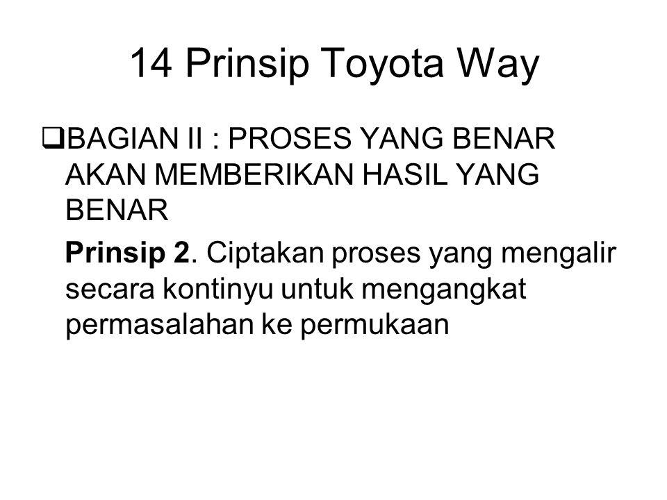  BAGIAN II : PROSES YANG BENAR AKAN MEMBERIKAN HASIL YANG BENAR Prinsip 2. Ciptakan proses yang mengalir secara kontinyu untuk mengangkat permasalaha