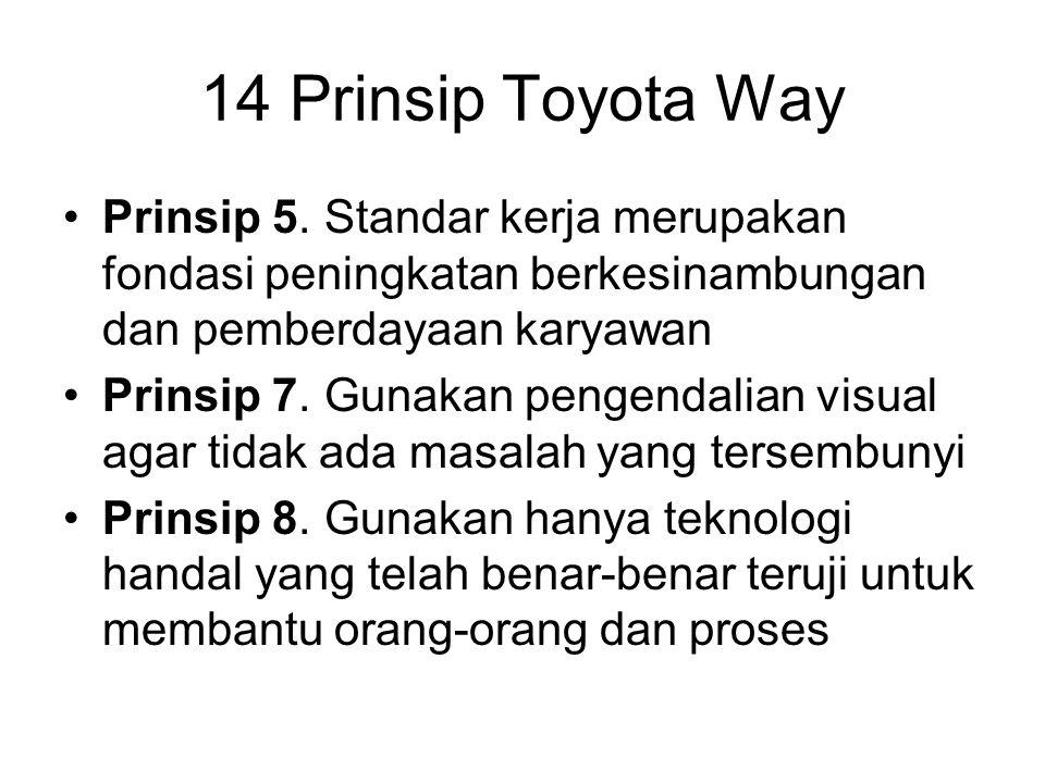 Prinsip 5. Standar kerja merupakan fondasi peningkatan berkesinambungan dan pemberdayaan karyawan Prinsip 7. Gunakan pengendalian visual agar tidak ad