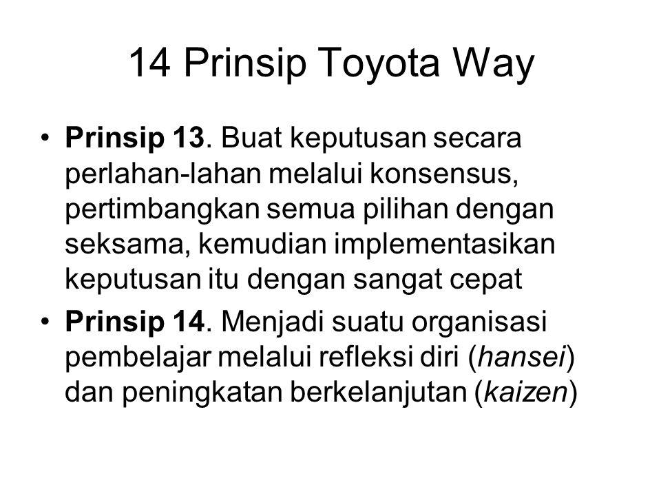 Prinsip 13. Buat keputusan secara perlahan-lahan melalui konsensus, pertimbangkan semua pilihan dengan seksama, kemudian implementasikan keputusan itu
