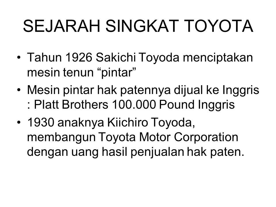 """SEJARAH SINGKAT TOYOTA Tahun 1926 Sakichi Toyoda menciptakan mesin tenun """"pintar"""" Mesin pintar hak patennya dijual ke Inggris : Platt Brothers 100.000"""