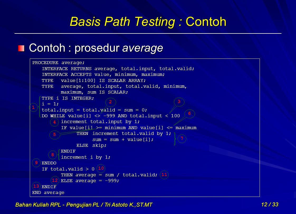 Bahan Kuliah RPL - Pengujian PL / Tri Astoto K.,ST.MT 12 / 33 Basis Path Testing : Contoh Contoh : prosedur average PROCEDURE average; INTERFACE RETUR