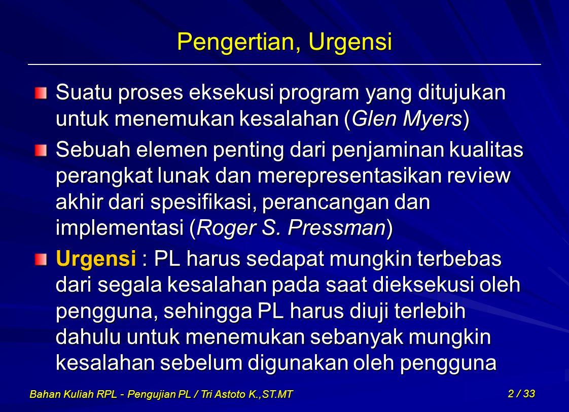 Bahan Kuliah RPL - Pengujian PL / Tri Astoto K.,ST.MT 2 / 33 Pengertian, Urgensi Suatu proses eksekusi program yang ditujukan untuk menemukan kesalaha