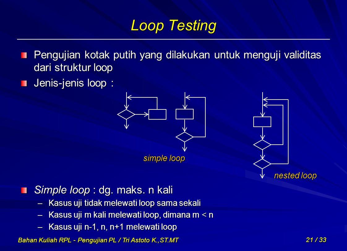 Bahan Kuliah RPL - Pengujian PL / Tri Astoto K.,ST.MT 21 / 33 Loop Testing Pengujian kotak putih yang dilakukan untuk menguji validitas dari struktur