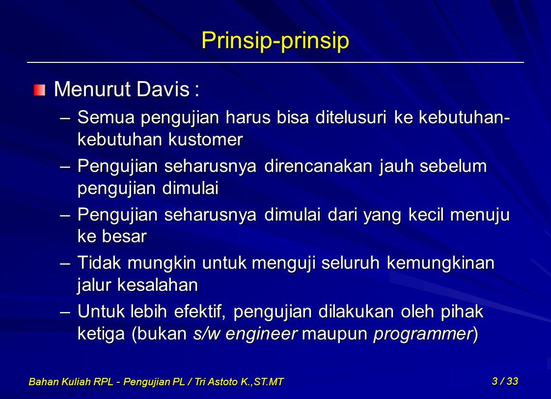 Bahan Kuliah RPL - Pengujian PL / Tri Astoto K.,ST.MT 3 / 33 Prinsip-prinsip Menurut Davis : –Semua pengujian harus bisa ditelusuri ke kebutuhan- kebu