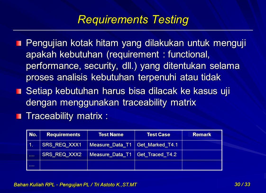 Bahan Kuliah RPL - Pengujian PL / Tri Astoto K.,ST.MT 30 / 33 Requirements Testing Pengujian kotak hitam yang dilakukan untuk menguji apakah kebutuhan