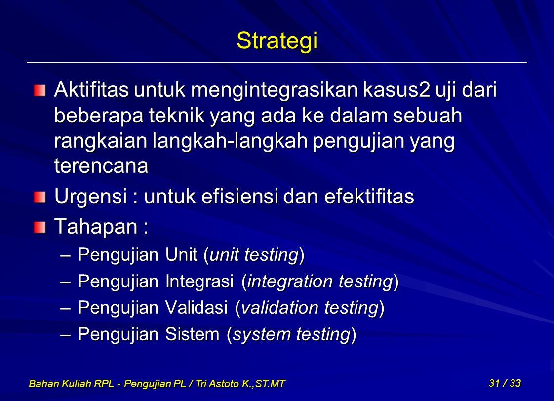 Bahan Kuliah RPL - Pengujian PL / Tri Astoto K.,ST.MT 31 / 33 Strategi Aktifitas untuk mengintegrasikan kasus2 uji dari beberapa teknik yang ada ke da
