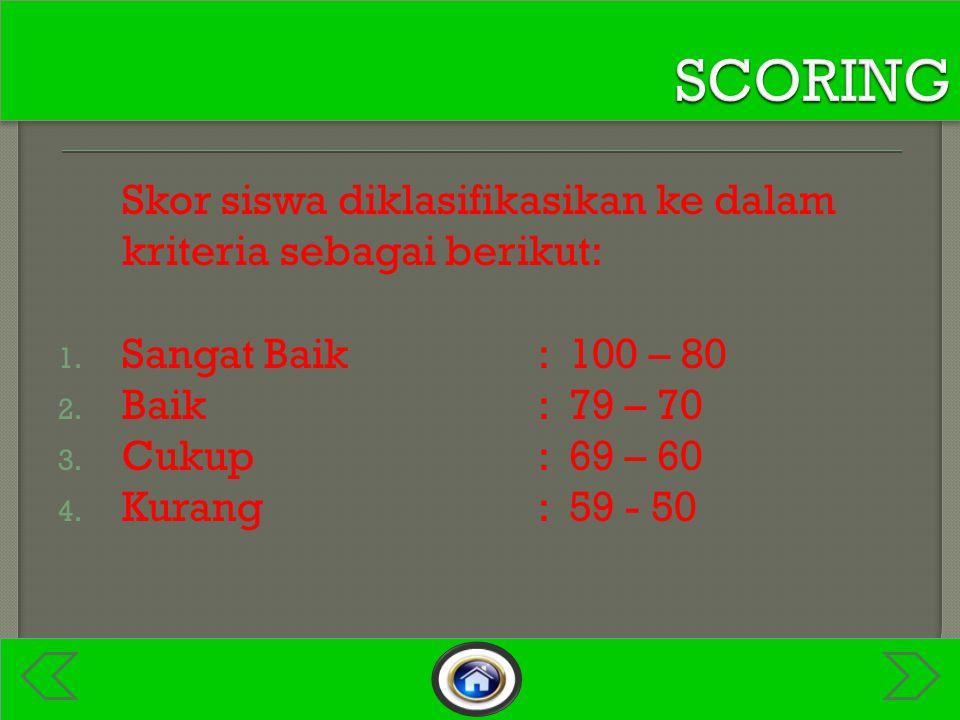 Maksimal Kata Skor siswa diklasifikasikan ke dalam kriteria sebagai berikut: 1.