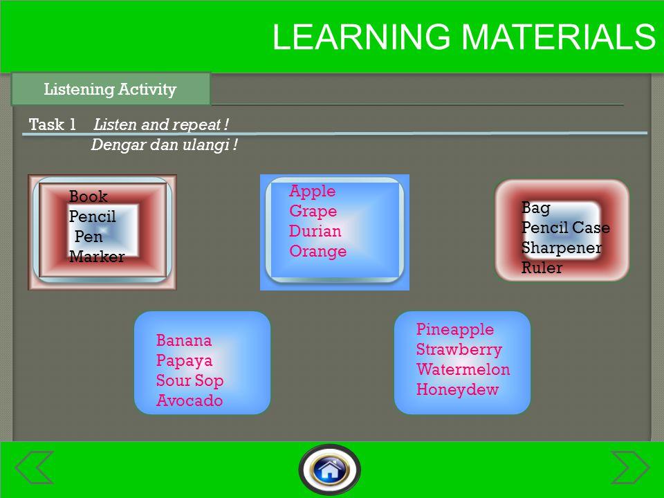 LEARNING MATERIALS Speaking Activity Task 2 Look and say ! Lihat dan ucapkan !