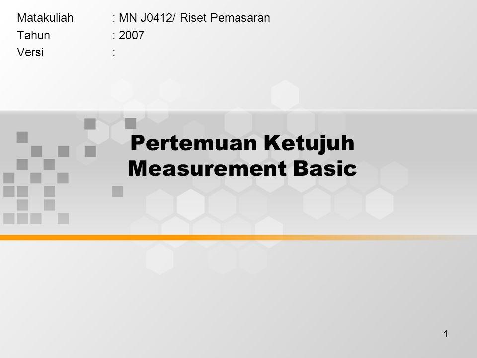 1 Pertemuan Ketujuh Measurement Basic Matakuliah: MN J0412/ Riset Pemasaran Tahun: 2007 Versi: