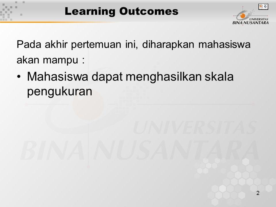 2 Learning Outcomes Pada akhir pertemuan ini, diharapkan mahasiswa akan mampu : Mahasiswa dapat menghasilkan skala pengukuran