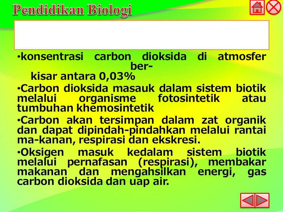 konsentrasi carbon dioksida di atmosfer ber- kisar antara 0,03% Carbon dioksida masauk dalam sistem biotik melalui organisme fotosintetik atau tumbuha