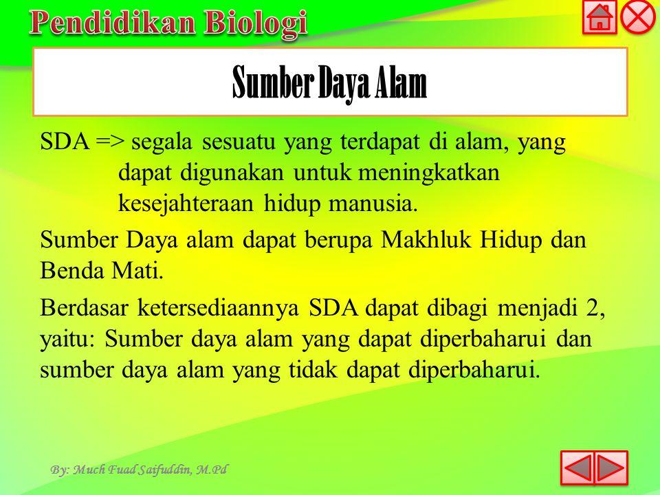 SDA => segala sesuatu yang terdapat di alam, yang dapat digunakan untuk meningkatkan kesejahteraan hidup manusia. Sumber Daya alam dapat berupa Makhlu